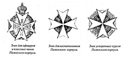 Знаки Пажеского корпуса